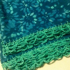Batik Scarf with Crochet Edging